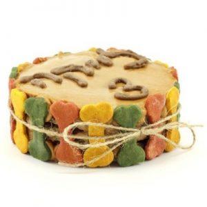 עוגת יום הולדת לכלב – עצמות צבעוניות, בינוני